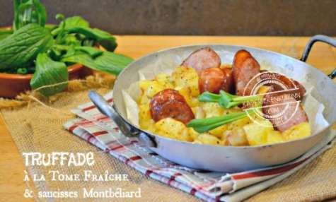 Truffade à la tomme fraîche et saucisses de Montbéliard
