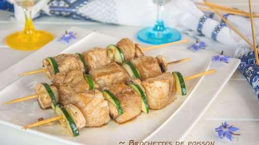 Brochettes de poisson marinées au soja et gingembre