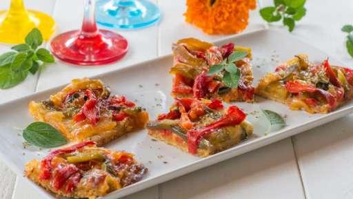 Tarte fine aux poivrons et mozzarella -