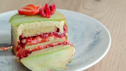 Entremet rhubarbe et fraises
