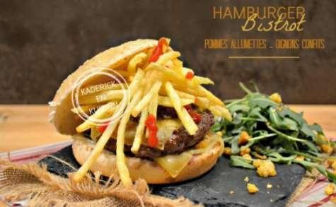 Plancha d'hamburger bistrot au boeuf et pommes pailles