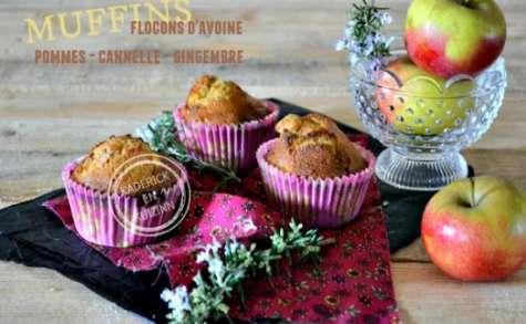 Muffins pommes aux flocons d'avoine cannelle et gingembre confit