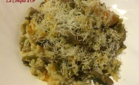 Risotto aux asperges,champignons et courge rouge de Sicile