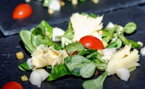 Salade de tête de Moine aux poires, sauce vinaigrette