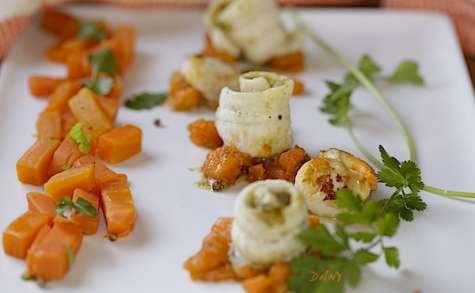 Roulés de sole au pesto de coriandre et carottes au vinaigre