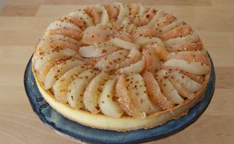Tarte pistache, poire et pomelo