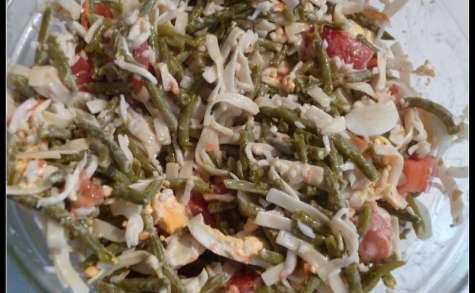 Salade d'haricots verts et pâtes au surimi