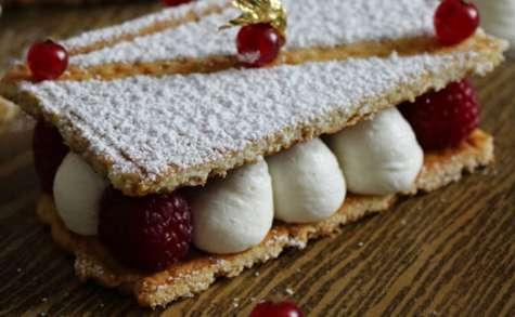 Gaufrette, Crème Vanille Citron et Framboises