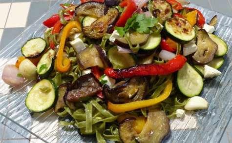 Tagliatelles aux légumes grillés et à la feta