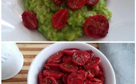 Risotto aux petits-pois, tomates confites