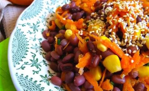 Salade de haricots azukis, maïs, et carotte à l'orange