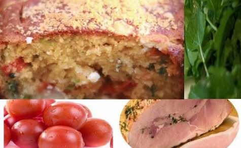 Cake salé et jambon aux herbes, schiscetta, lunch box (Italie)