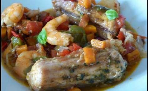 Roussette - Crevettes et gelée de piment de d'Espelette -