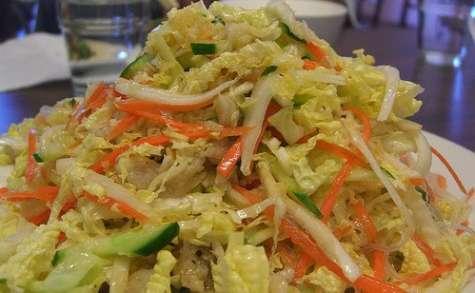 Salade de chou, christophine ou concombre, carotte épicée