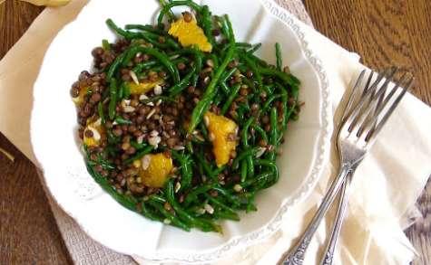 Salade de salicornes, lentilles vertes et orange