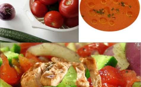Salade composée au poulet grillé, légumes d'été et son gaspacho (sans gluten)