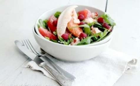 Salade de homard au pamplemousse et framboises