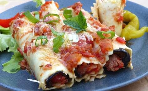 Cannelloni à l'aubergine et à la viande hachée