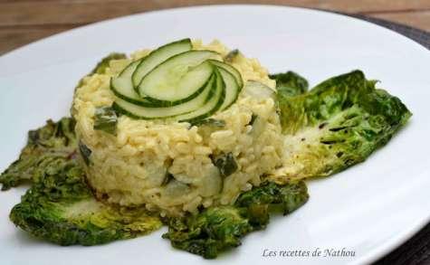 Risotto aux courgettes et au curry, sucrines braisées au balsamique