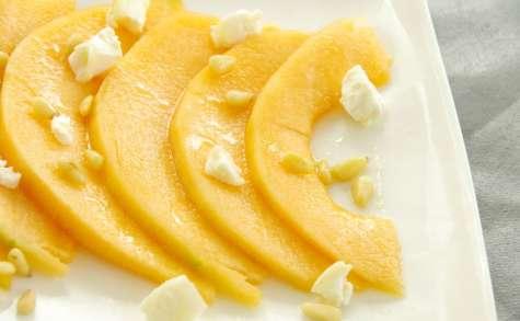 Carpaccio de melon, chèvre et miel