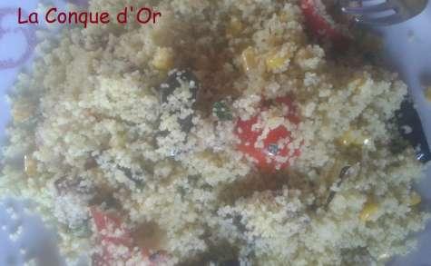 Taboulé aux aubergines,poivrons et mais parfumé à la menthe