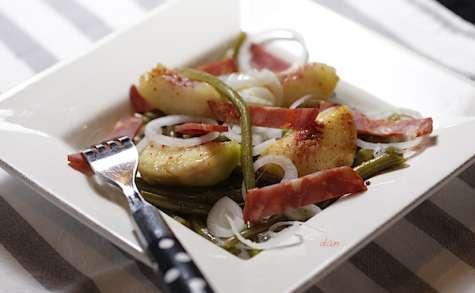 Salade de pêches et haricots verts miel et chorizo