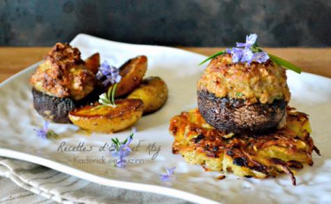 Champignons farcis au veau et jambon avec röstis ou potatoes à la plancha