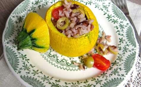 Courgette ronde farcie au riz sauvage et tomates