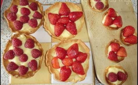 Tartelettes aux framboises et aux fraises