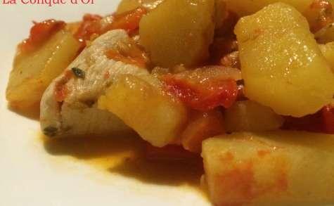 Blanc de poulet aux poivrons et pommes de terre