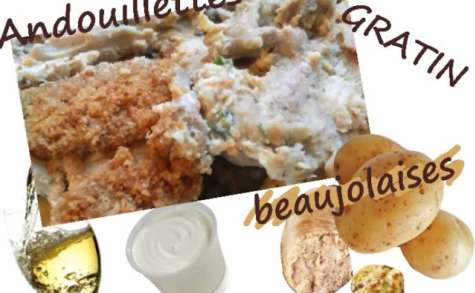 Gratin d'andouillette beaujolaise à la crème et à la moutarde
