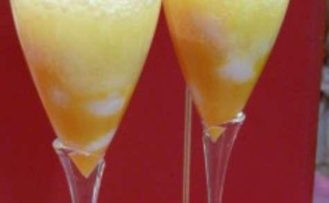 Verrine litchi-maracuja, espuma à la passion