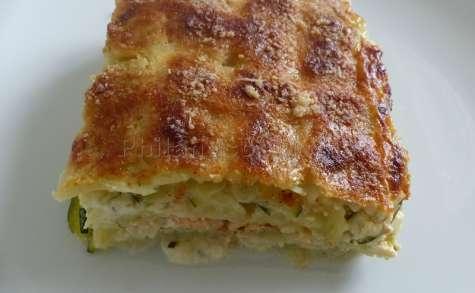 Lasagnes de ravioles aux courgettes et au saumon