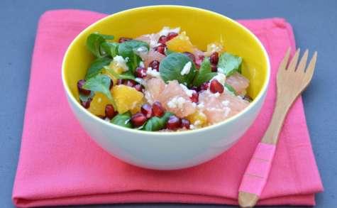 Salade aux agrumes, grenade et au crabe