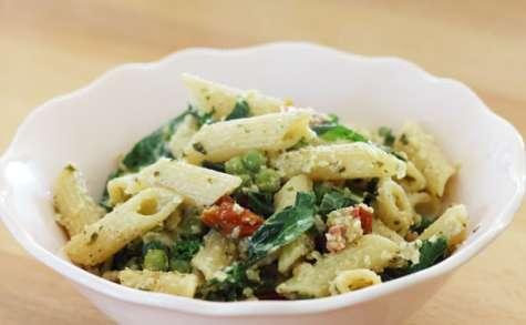 Pâtes aux légumes et pesto citron basilic