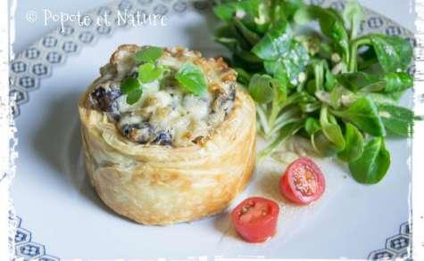 Croustade végétarienne aux champignons et aux pâtes