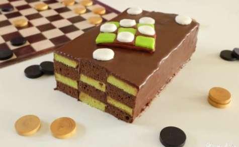 Cake damier chocolat/pistache