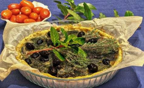 Tarte aux olives et épinards