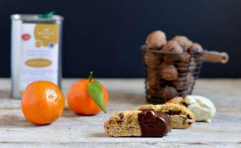 Cantuccini clémentines, noix, chocolat et huile d'olive