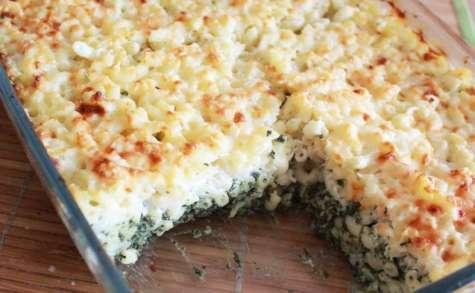 Gratin de coquillettes aux épinards et fromage