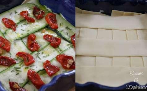 Lasagnes Saumon Fumé, Courgettes, Tomates Confites et Romarin