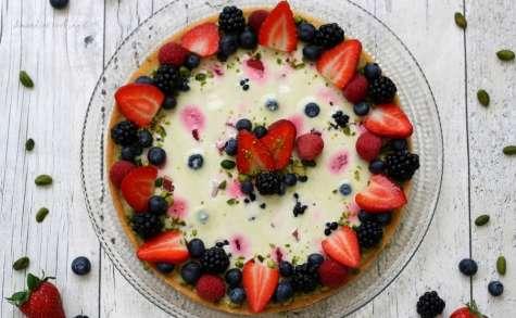Tarte panna cotta pistache et fruits rouges
