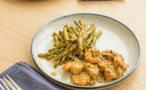 Crevettes sautées et ses asperges