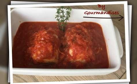 Paupiettes de poulet aux tomates romarin et thym