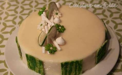 Entremet citron vert et coco, et framboises