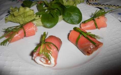Roulé de saumon au fromage frais à l'ail et aux fines herbes