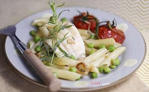 Filets de sole aux penne légumes et estragon