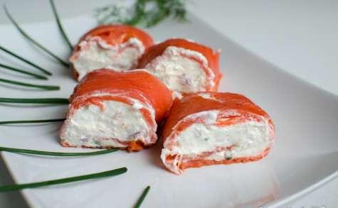 Roulé de saumon au chèvre et à la pomme