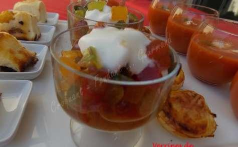 Verrines de tomates multicolores-Chantilly de mozzarella