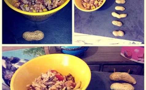 Salade de riz sauce vierge aux cacahuettes.